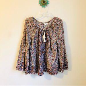 Umgee • floral bell sleeve tassel tie boho top
